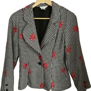 Vintage Checkered with Red Flowers Blazer, size 6